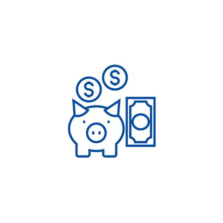Deposit insurance,pig with money line concept icon. Deposit insurance,pig with money flat  vector website sign, outline symbol, illustration. Illustration