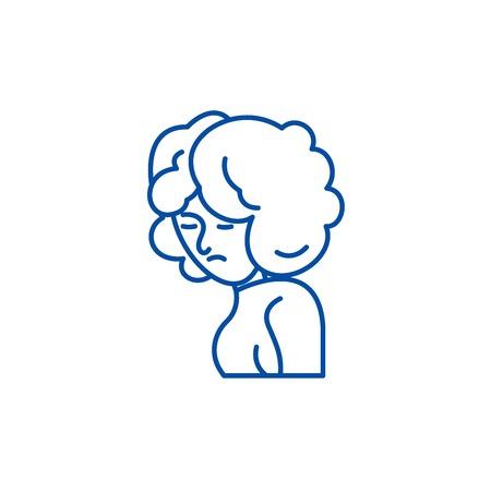 Depression line concept icon. Depression flat  vector website sign, outline symbol, illustration. Illustration