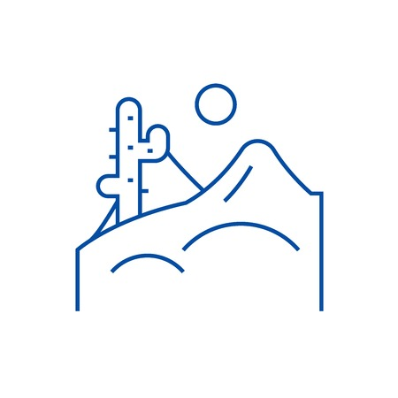 Desert line concept icon. Desert flat  vector website sign, outline symbol, illustration. 向量圖像