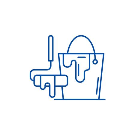 Design works line concept icon. Design works flat  vector website sign, outline symbol, illustration.