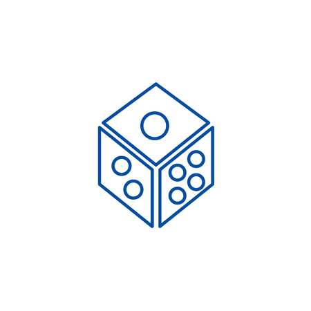 Dice,game cube line concept icon. Dice,game cube flat  vector website sign, outline symbol, illustration.