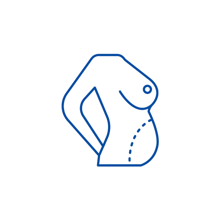 Diet body,fat correction,belly line concept icon. Diet body,fat correction,belly flat  vector website sign, outline symbol, illustration.