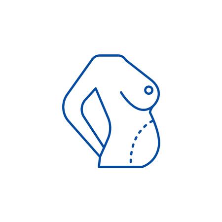 Diet body,fat correction,belly line concept icon. Diet body,fat correction,belly flat  vector website sign, outline symbol, illustration.