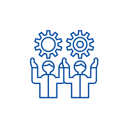 Development team line concept icon. Development team flat  vector website sign, outline symbol, illustration.