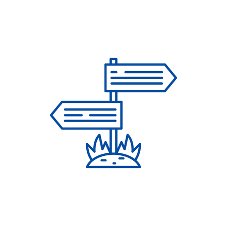 Directions of the road line concept icon. Directions of the road flat  vector website sign, outline symbol, illustration. Çizim