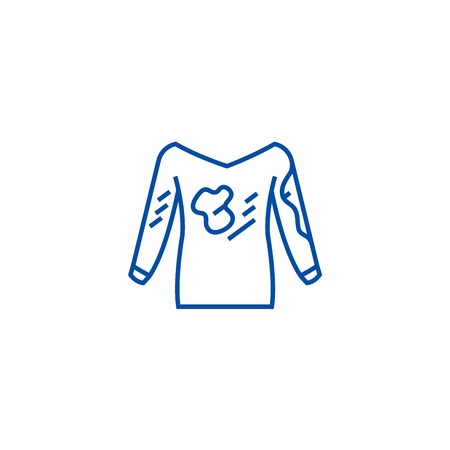 Dirty clothes,hoodie,laundry  line concept icon. Dirty clothes,hoodie,laundry  flat  vector website sign, outline symbol, illustration.