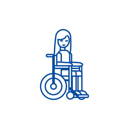 Disabled girl in wheelchair line concept icon. Disabled girl in wheelchair flat  vector website sign, outline symbol, illustration.