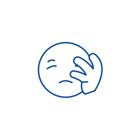 Disapointed emoji line concept icon. Disapointed emoji flat  vector website sign, outline symbol, illustration.