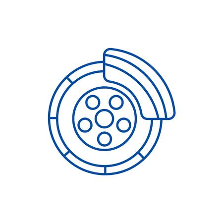 Frein à disque, icône de concept de ligne de service de voiture. Frein à disque,service de voiture vector plate signe site Web, symbole du contour, illustration.
