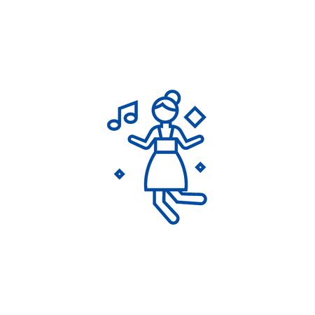 Disco dancing girl line concept icon. Disco dancing girl flat  vector website sign, outline symbol, illustration. Reklamní fotografie - 119741843