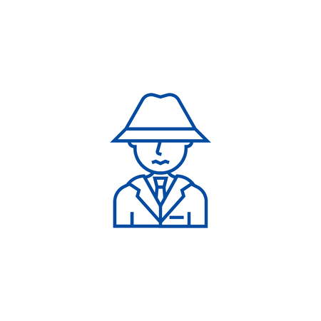 Detective, spy, man with hat line concept icon. Detective, spy, man with hat flat  vector website sign, outline symbol, illustration.
