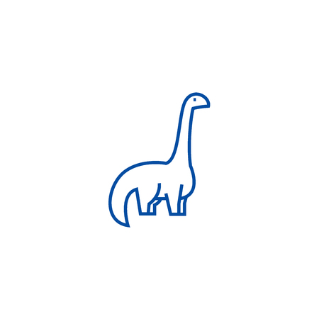 Dinosaur,diplodocus line concept icon. Dinosaur,diplodocus flat  vector website sign, outline symbol, illustration.