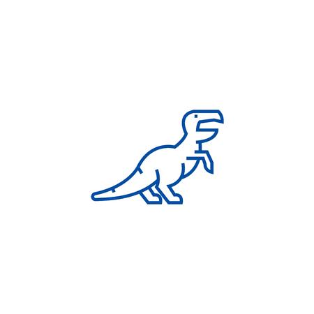 Dinosaur,raptor,tyrannosaurus  line concept icon. Dinosaur,raptor,tyrannosaurus  flat  vector website sign, outline symbol, illustration. Foto de archivo - 119741856