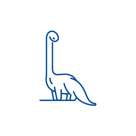 Diplodocus line concept icon. Diplodocus flat  vector website sign, outline symbol, illustration. Stock Vector - 119741857