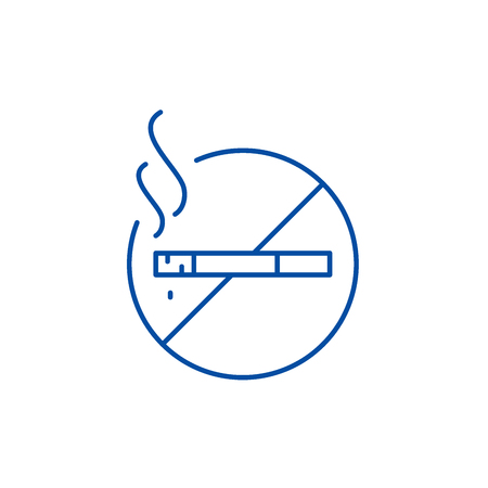 Do not smoke line concept icon. Do not smoke flat  vector website sign, outline symbol, illustration.  イラスト・ベクター素材