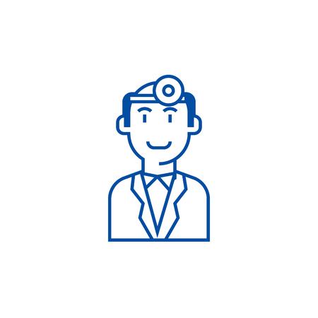 Doctor checkup line concept icon. Doctor checkup flat  vector website sign, outline symbol, illustration. Illustration