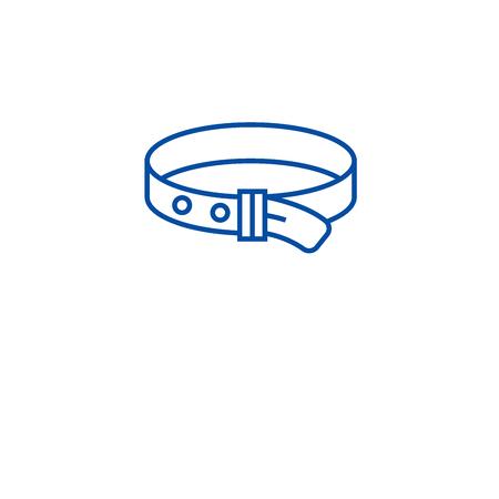 Dog collar line concept icon. Dog collar flat  vector website sign, outline symbol, illustration.