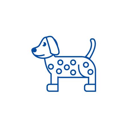 Dog, dalmatian line concept icon. Dog, dalmatian flat  vector website sign, outline symbol, illustration.