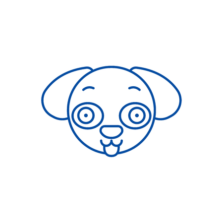 Doggy emoji line concept icon. Doggy emoji flat  vector website sign, outline symbol, illustration. Illusztráció