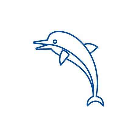 Dolphin line concept icon. Dolphin flat  vector website sign, outline symbol, illustration.