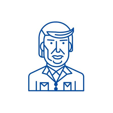 Donald trump line concept icon. Donald trump flat  vector website sign, outline symbol, illustration. Illustration
