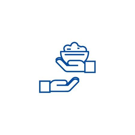 Donare l'icona del concetto di linea alimentare. Donare cibo piatto vettore sito web segno, simbolo di contorno, illustrazione. Vettoriali