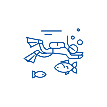 Diving line concept icon. Diving flat  vector website sign, outline symbol, illustration. Stock Vector - 119741883
