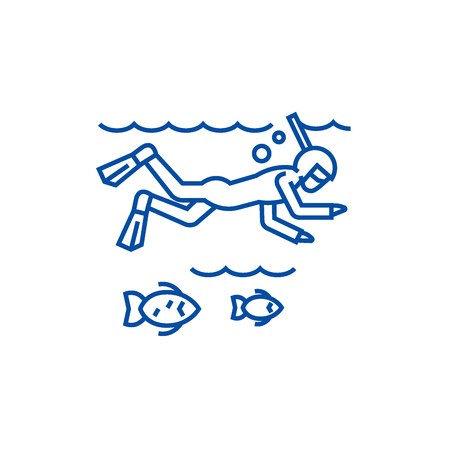 Diving in the sea with  line concept icon. Diving in the sea with  flat  vector website sign, outline symbol, illustration. Illustration
