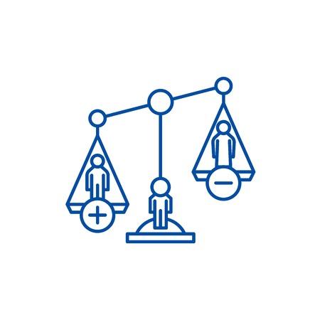 Divorce proceedings line concept icon. Divorce proceedings flat  vector website sign, outline symbol, illustration. Illustration