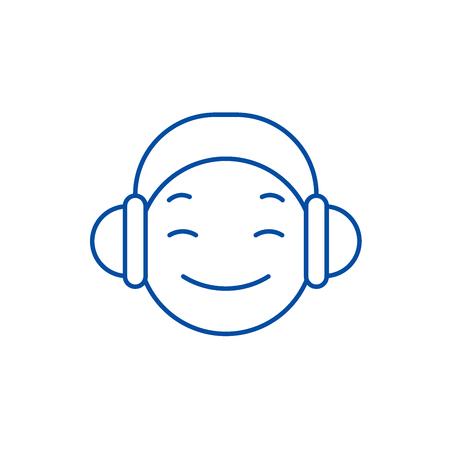 Dj emoji line concept icon. Dj emoji flat  vector website sign, outline symbol, illustration.
