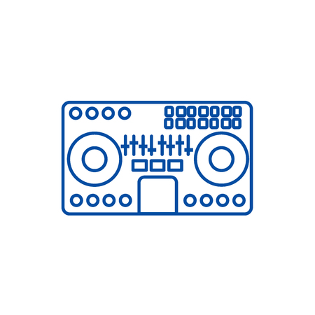 Dj mixer,mixing music,party,techno line concept icon. Dj mixer,mixing music,party,techno flat  vector website sign, outline symbol, illustration.