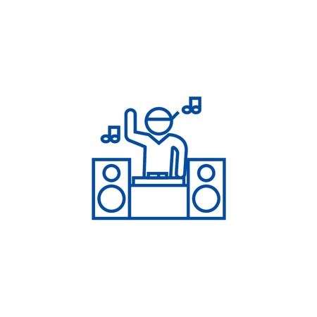 Dj playing mix line concept icon. Dj playing mix flat  vector website sign, outline symbol, illustration.