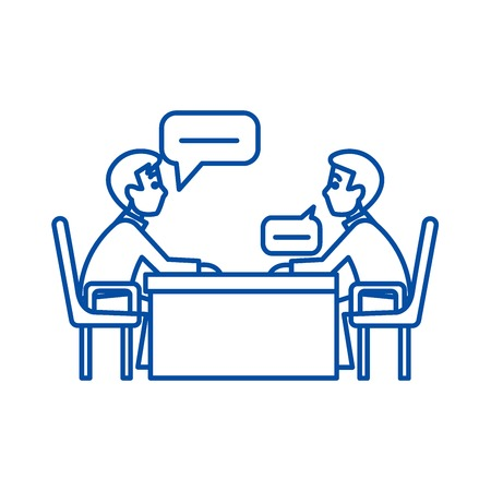 Discussion of two  line concept icon. Discussion of two  flat  vector website sign, outline symbol, illustration.