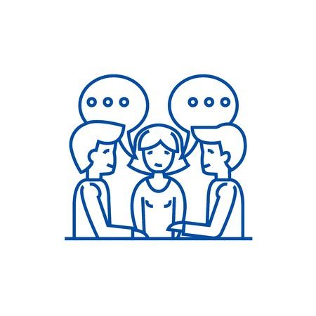Discussion,negotiation,treaty line concept icon. Discussion,negotiation,treaty flat  vector website sign, outline symbol, illustration.