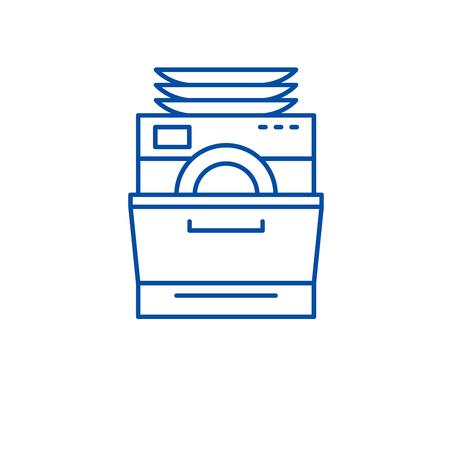Dish washer line concept icon. Dish washer flat  vector website sign, outline symbol, illustration.