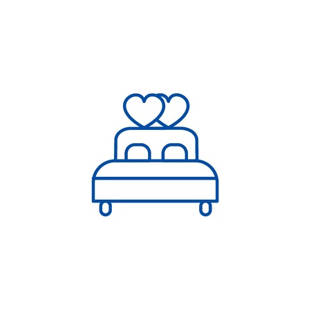Double  bed with heart line concept icon. Double  bed with heart flat  vector website sign, outline symbol, illustration. Illustration