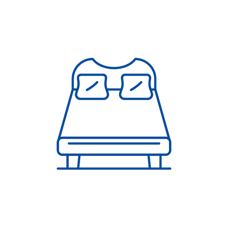 Double bed line concept icon. Double bed flat  vector website sign, outline symbol, illustration. Archivio Fotografico - 119741965