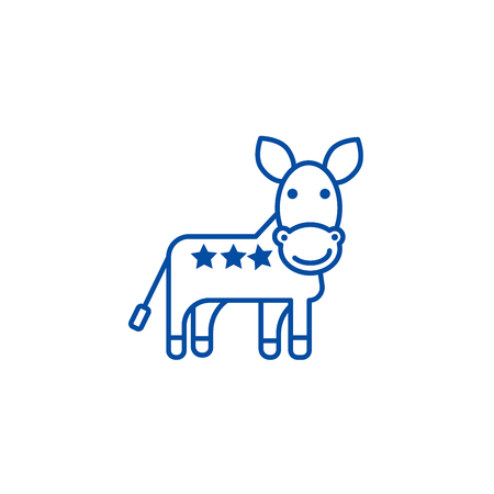Donkey, usa, democratic party line concept icon. Donkey, usa, democratic party flat  vector website sign, outline symbol, illustration.