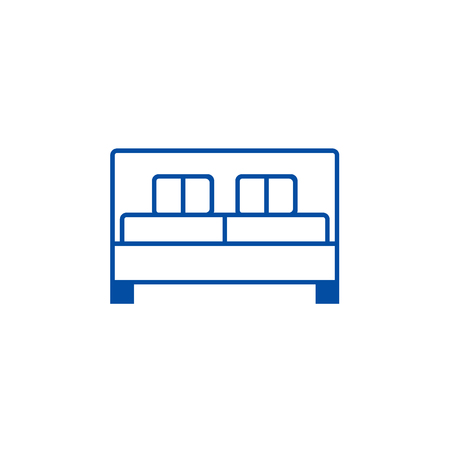 Double bed  line concept icon. Double bed  flat  vector website sign, outline symbol, illustration. Çizim