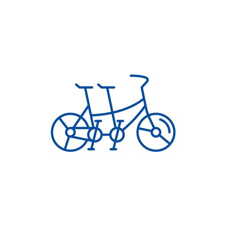 Double bike line concept icon. Double bike flat vector website sign, outline symbol, illustration.