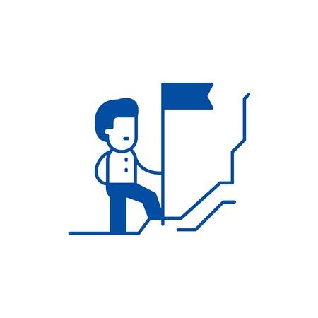 Discoverer line concept icon. Discoverer flat  vector website sign, outline symbol, illustration. Foto de archivo - 119742020