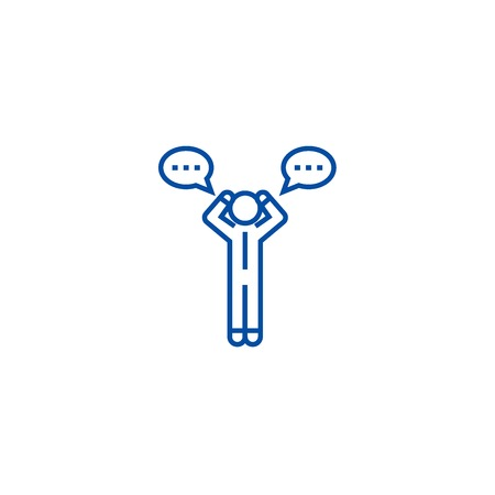 Doubt man with chat line concept icon. Doubt man with chat flat  vector website sign, outline symbol, illustration.