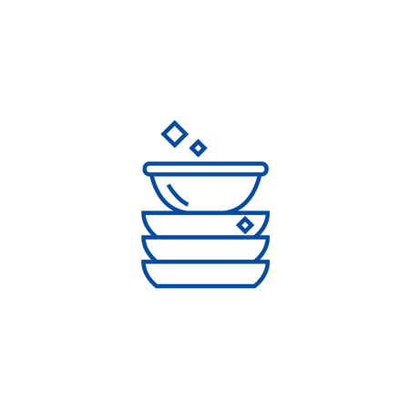 Dishes line concept icon. Dishes flat  vector website sign, outline symbol, illustration.