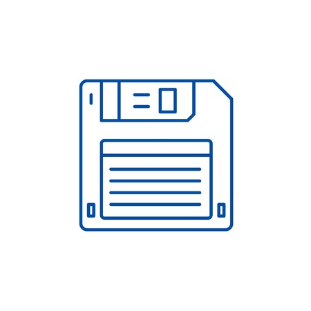 Diskette line concept icon. Diskette flat  vector website sign, outline symbol, illustration.