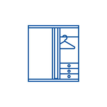 Dressing room line concept icon. Dressing room flat  vector website sign, outline symbol, illustration.