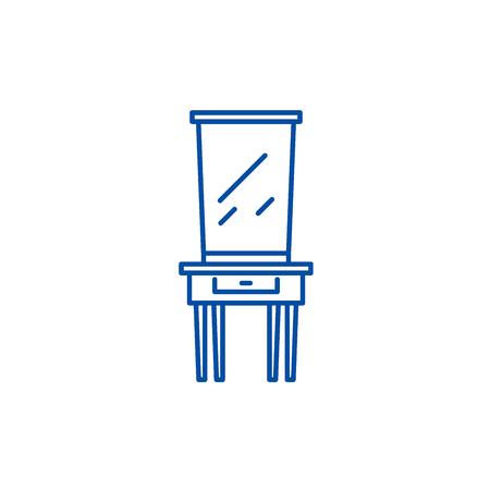 Dressing table line concept icon. Dressing table flat  vector website sign, outline symbol, illustration. Illustration