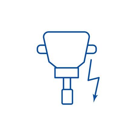 Driller line concept icon. Driller flat  vector website sign, outline symbol, illustration. Illustration