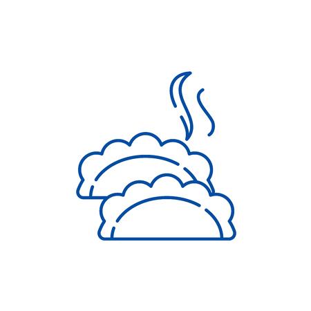 Dumplings line concept icon. Dumplings flat  vector website sign, outline symbol, illustration. Illustration