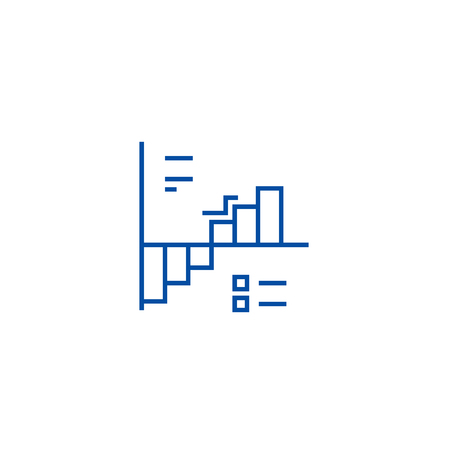 Down up charts  line concept icon. Down up charts  flat  vector website sign, outline symbol, illustration.