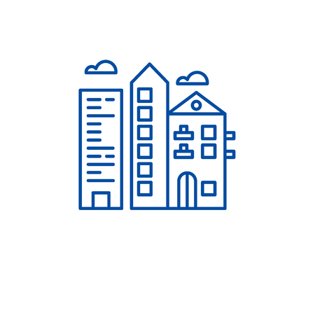 Downtown city line concept icon. Downtown city flat  vector website sign, outline symbol, illustration.